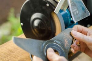 Sharpening Lawn Mower Blade with Blade Sharpener