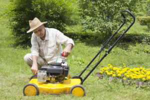 Gardener Oiling Lawn Mower in a Green Lawn